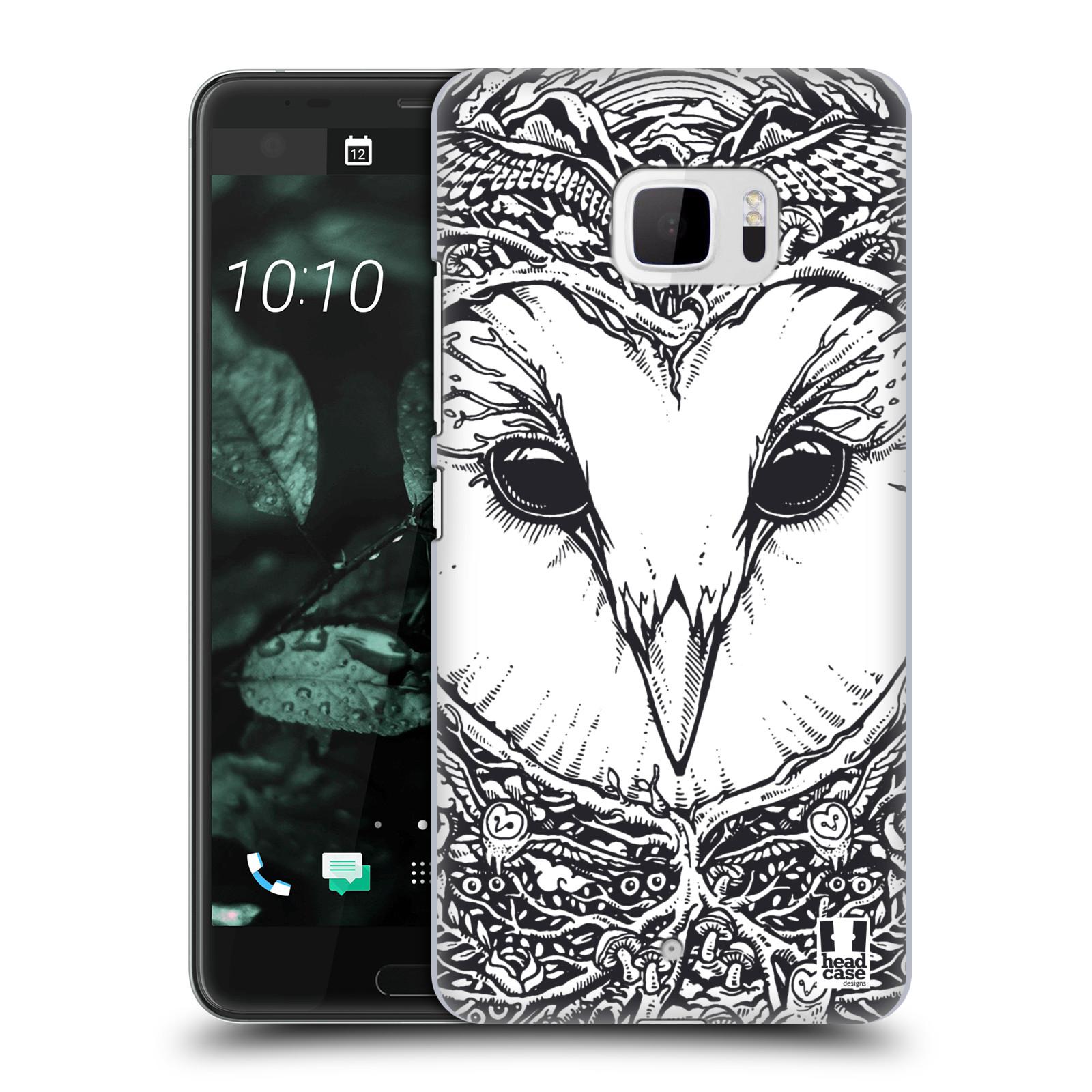 Plastové pouzdro na mobil HTC U Ultra Head Case - DOODLE TVÁŘ SOVA (Plastový kryt či obal na mobilní telefon HTC U Ultra (99HALT015-00))