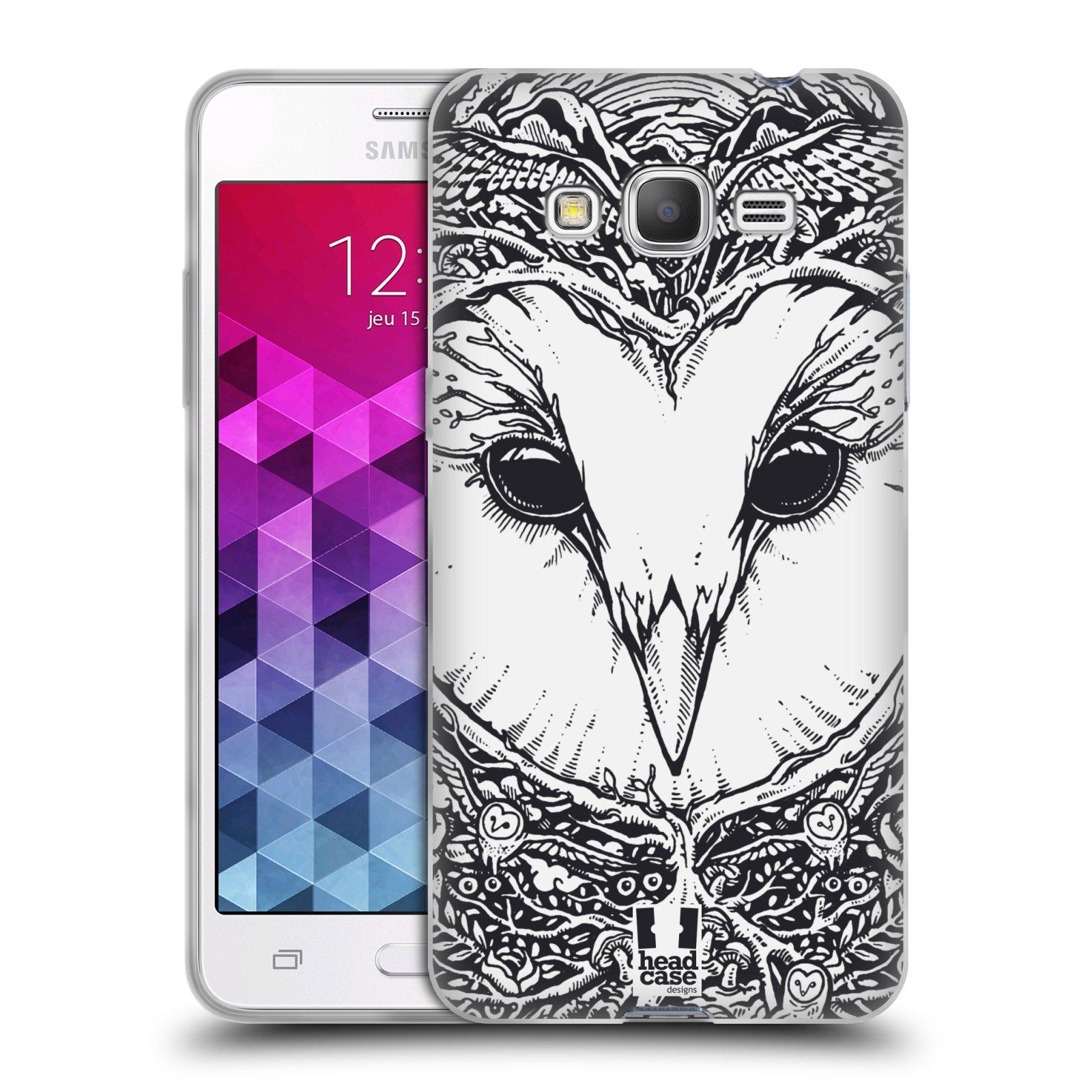 Silikonové pouzdro na mobil Samsung Galaxy Grand Prime HEAD CASE DOODLE TVÁŘ SOVA