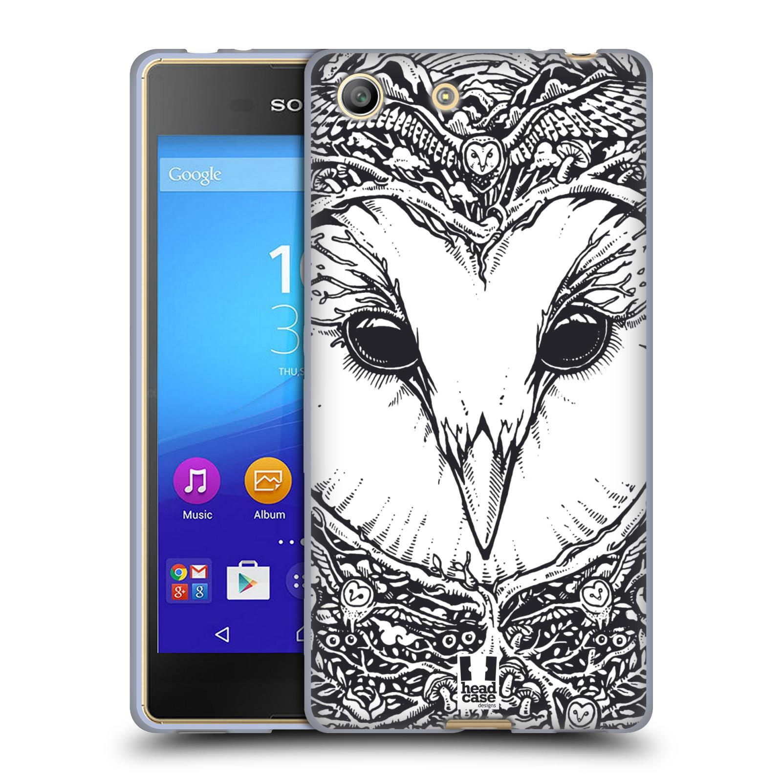 Silikonové pouzdro na mobil Sony Xperia M5 HEAD CASE DOODLE TVÁŘ SOVA (Silikonový kryt či obal na mobilní telefon Sony Xperia M5 Dual SIM / Aqua)