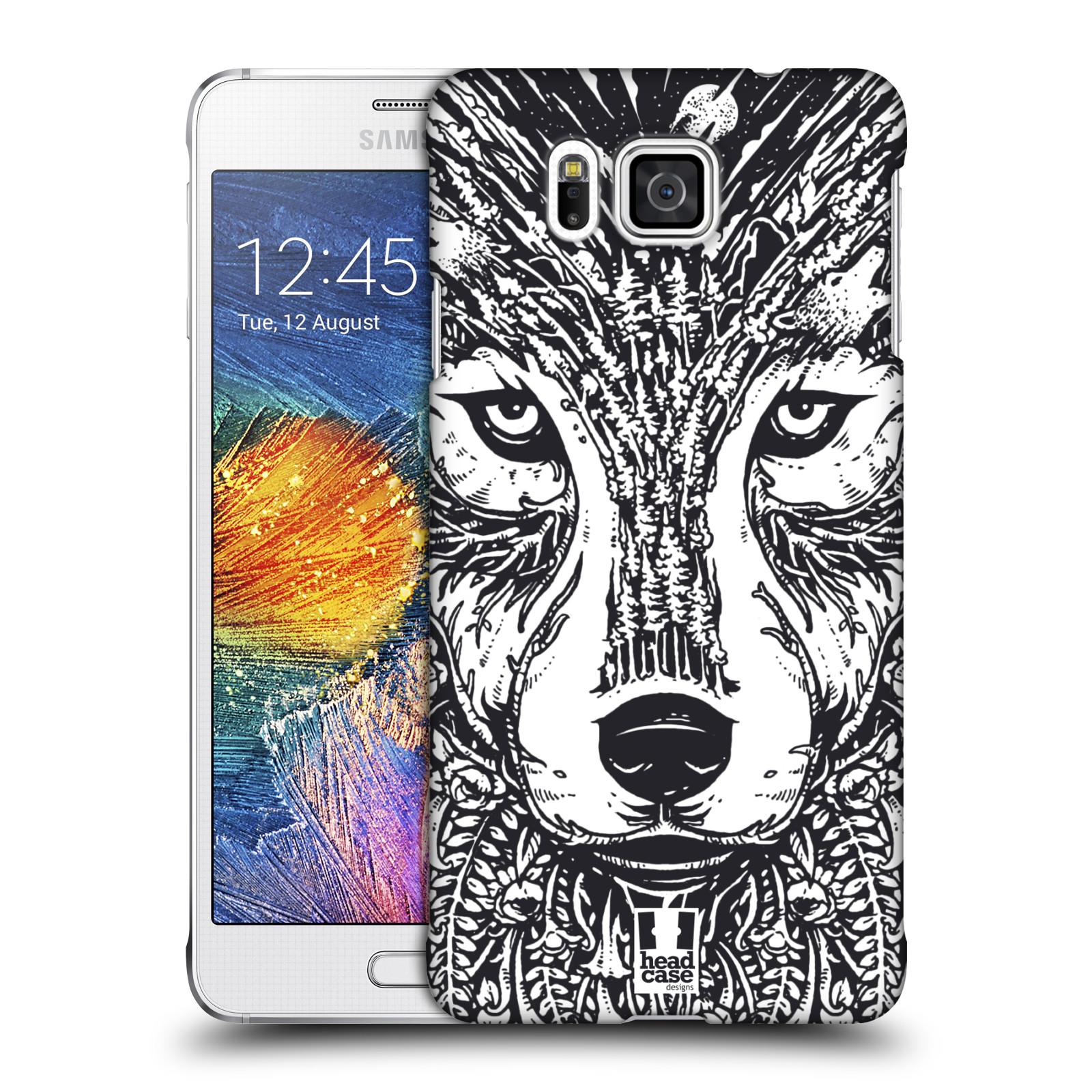 Plastové pouzdro na mobil Samsung Galaxy Alpha HEAD CASE DOODLE TVÁŘ VLK