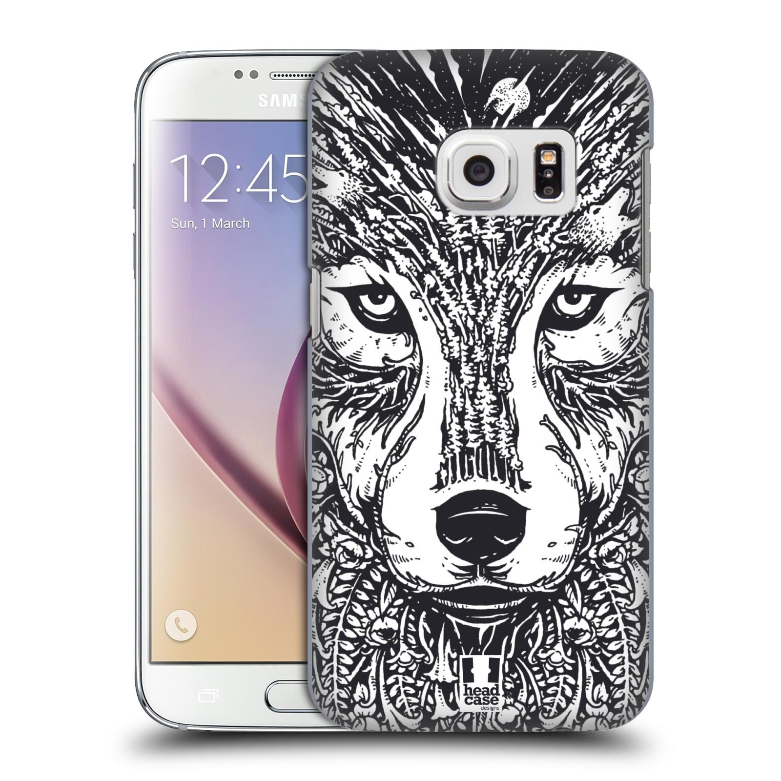 Plastové pouzdro na mobil Samsung Galaxy S7 HEAD CASE DOODLE TVÁŘ VLK (Kryt či obal na mobilní telefon Samsung Galaxy S7 SM-G930F)