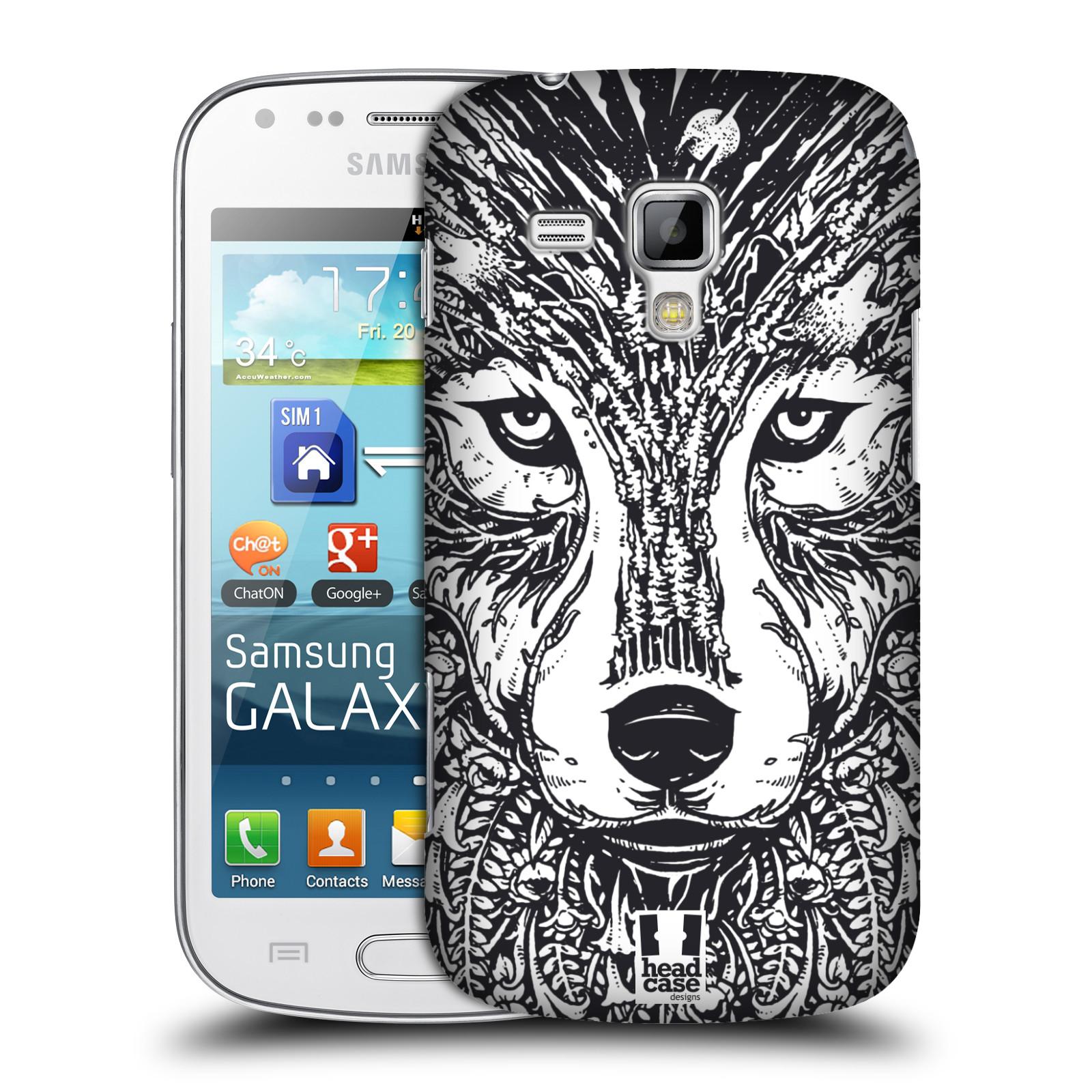 Plastové pouzdro na mobil Samsung Galaxy Trend Plus HEAD CASE DOODLE TVÁŘ VLK