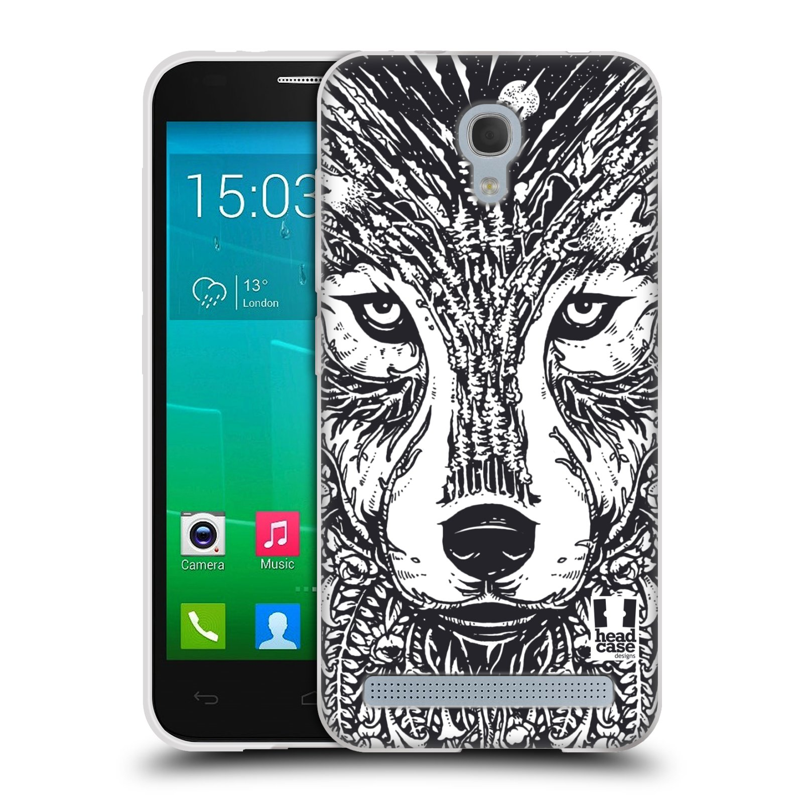Silikonové pouzdro na mobil Alcatel One Touch Idol 2 Mini S 6036Y HEAD CASE DOODLE TVÁŘ VLK
