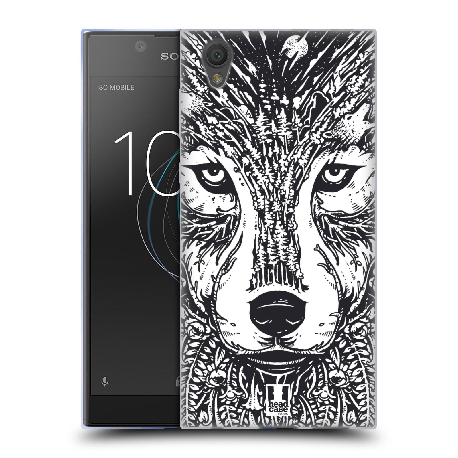 Silikonové pouzdro na mobil Sony Xperia L1 - Head Case - DOODLE TVÁŘ VLK (Silikonový kryt či obal na mobilní telefon Sony Xperia L1 G3311 s motivem DOODLE TVÁŘ VLK)
