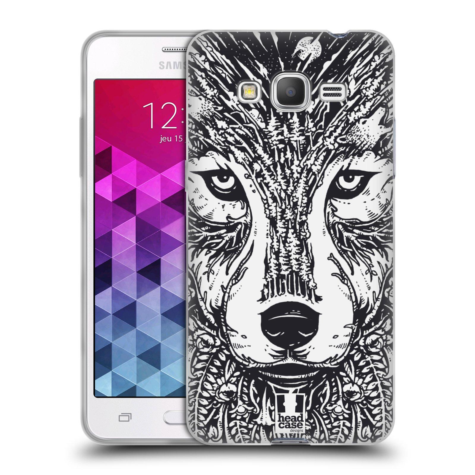 Silikonové pouzdro na mobil Samsung Galaxy Grand Prime HEAD CASE DOODLE TVÁŘ VLK