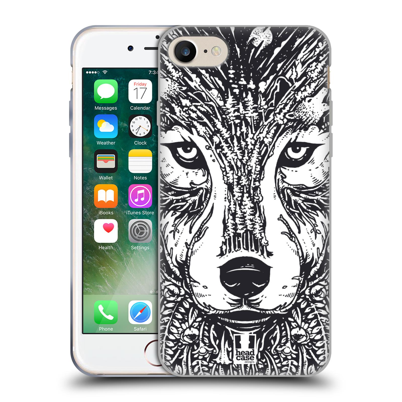 Silikonové pouzdro na mobil Apple iPhone 8 - Head Case - DOODLE TVÁŘ VLK (Silikonový kryt či obal na mobilní telefon Apple iPhone 8 s motivem DOODLE TVÁŘ VLK)