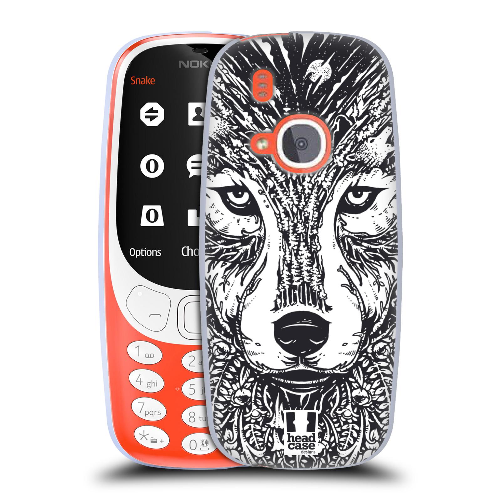 Silikonové pouzdro na mobil Nokia 3310 - Head Case - DOODLE TVÁŘ VLK (Silikonový kryt či obal na mobilní telefon Nokia 3310 (2017) s motivem DOODLE TVÁŘ VLK)