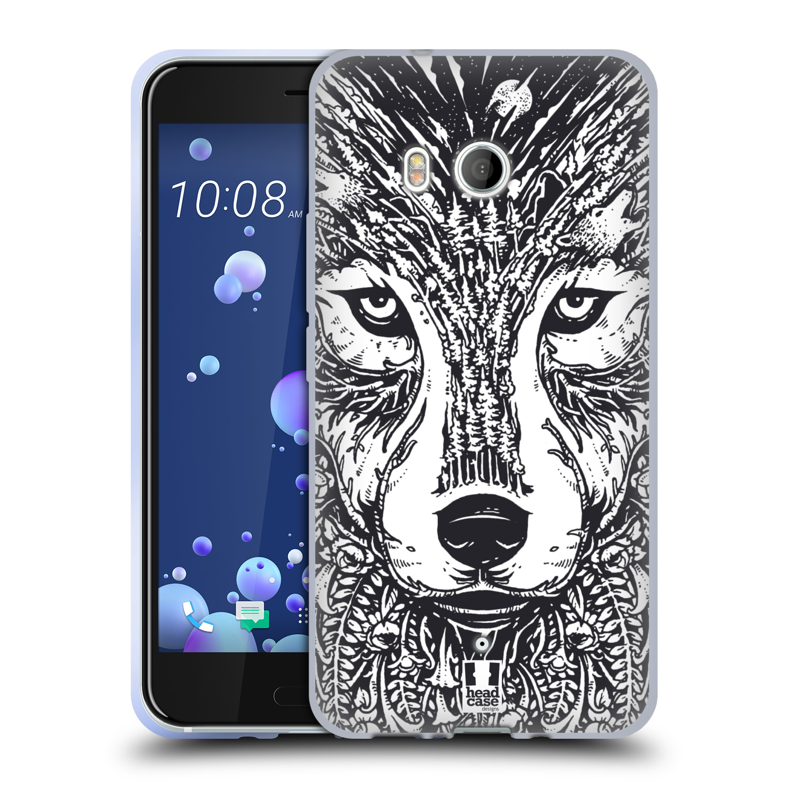 Silikonové pouzdro na mobil HTC U11 - Head Case - DOODLE TVÁŘ VLK (Silikonový kryt či obal na mobilní telefon HTC U11 s motivem DOODLE TVÁŘ VLK)