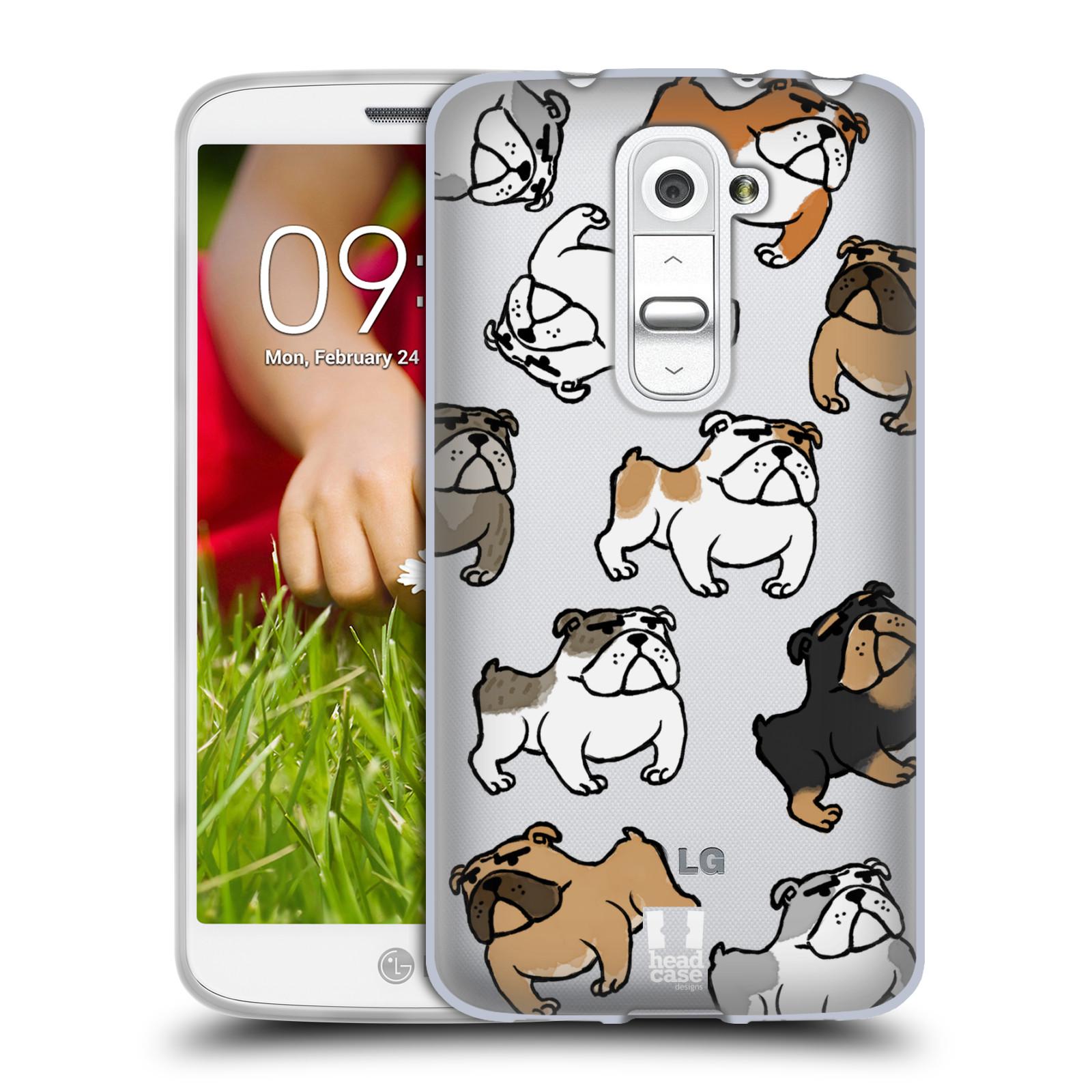 Silikonové pouzdro na mobil LG G2 Mini Head Case - Buldoci (Silikonový kryt či obal na mobilní telefon s motivem buldoků pro LG G2 Mini D620)