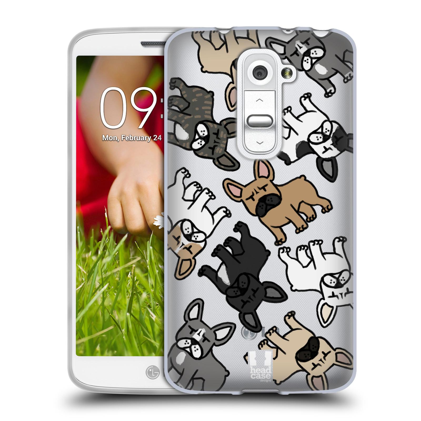 Silikonové pouzdro na mobil LG G2 Mini Head Case - Francouzští buldočci (Silikonový kryt či obal na mobilní telefon s motivem francouzkých buldočků pro LG G2 Mini D620)