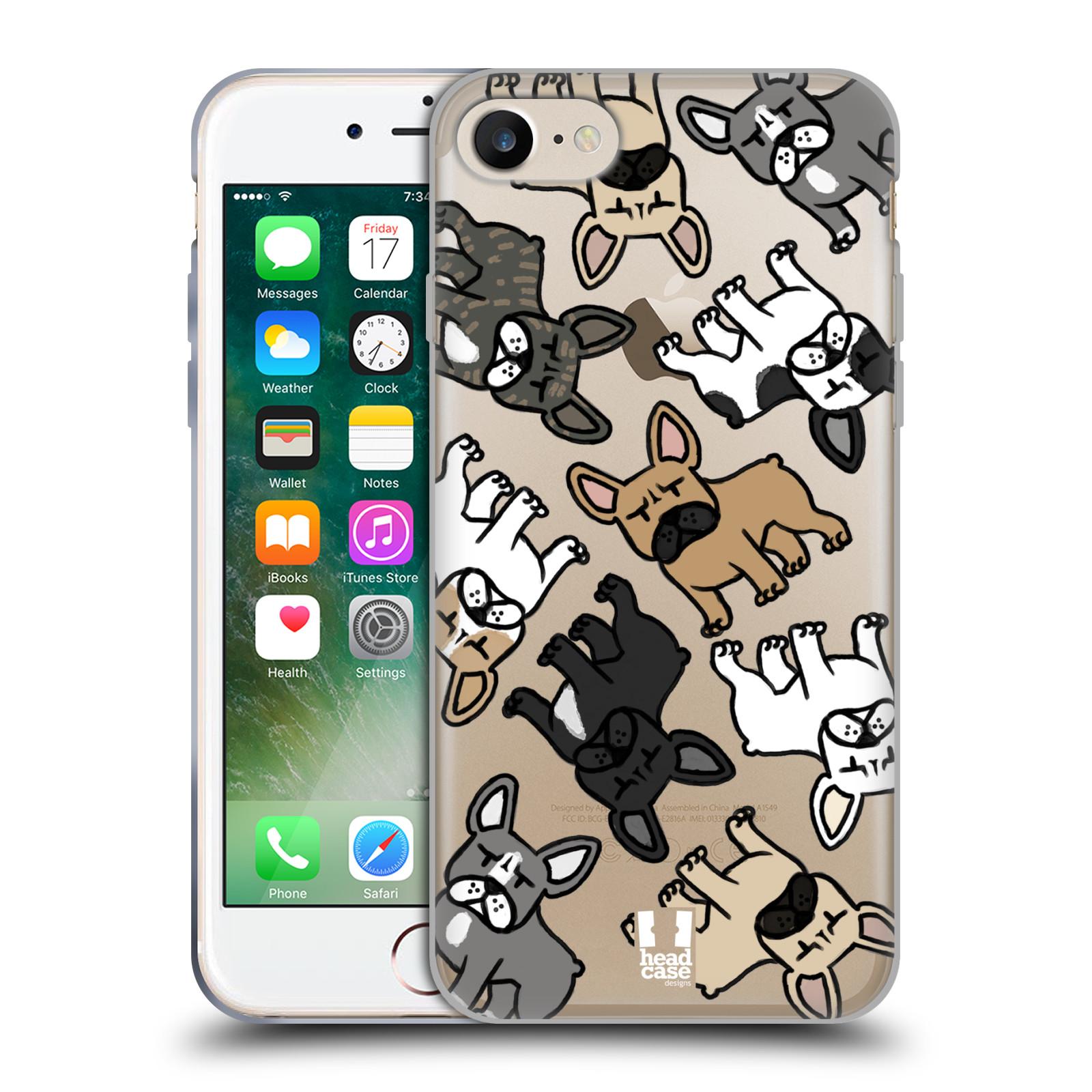 Silikonové pouzdro na mobil Apple iPhone 7 Head Case - Francouzští buldočci