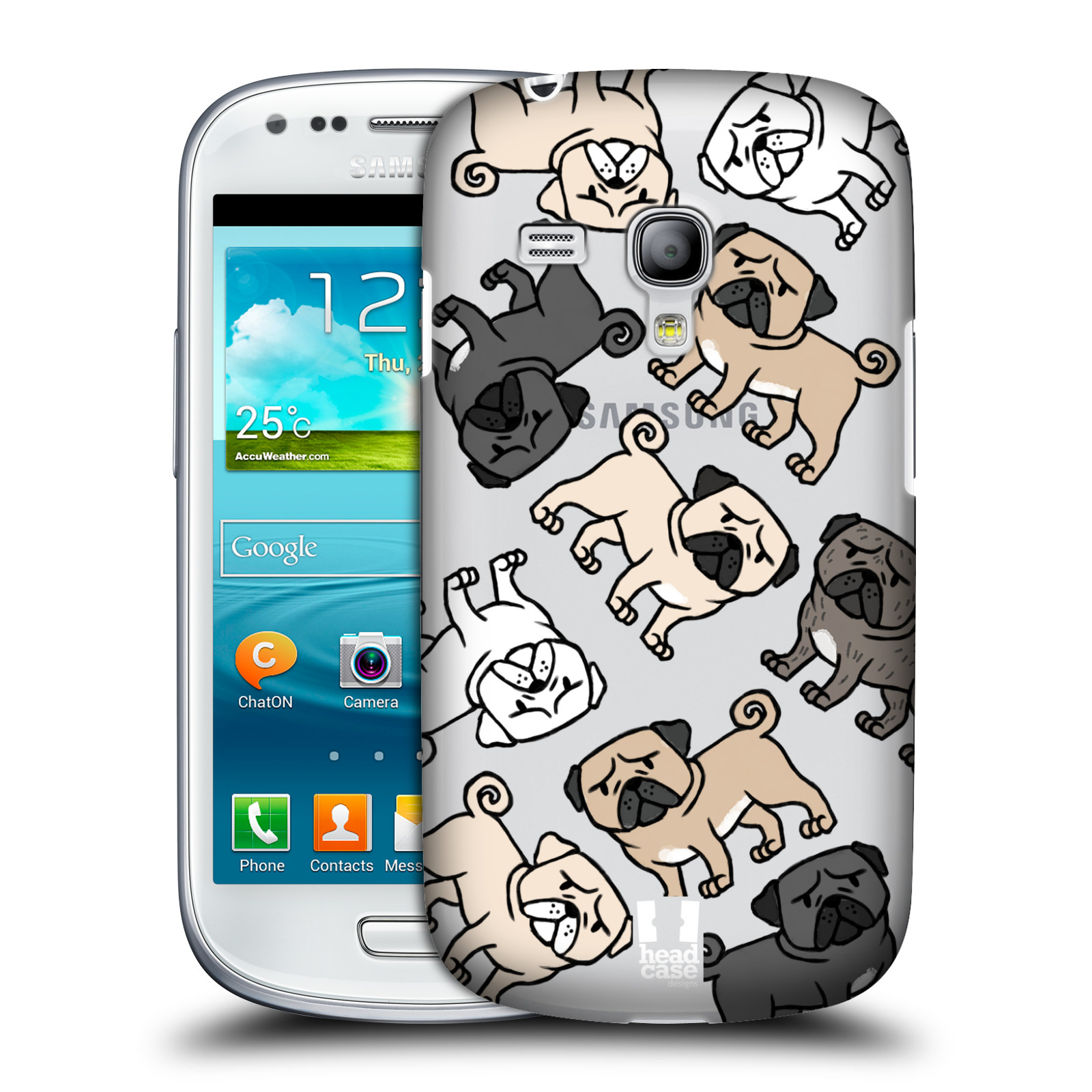 Silikonové pouzdro na mobil Samsung Galaxy S III Mini VE Head Case - Mopsíci (Plastový kryt či obal na mobilní telefon s motivem mopsíků pro Samsung Galaxy S3 Mini VE GT-i8200)