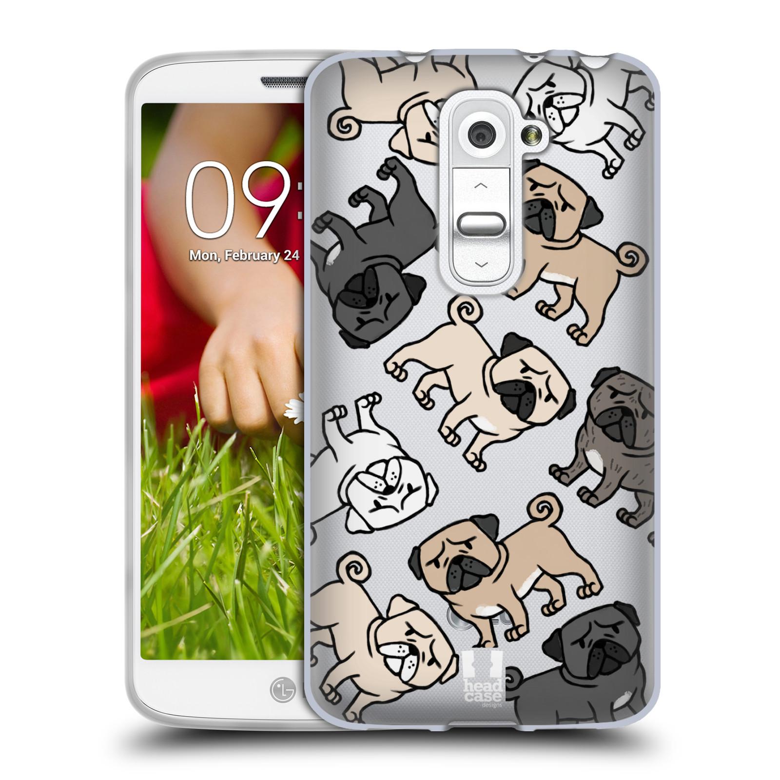Silikonové pouzdro na mobil LG G2 Mini Head Case - Mopsíci (Silikonový kryt či obal na mobilní telefon s motivem mopsíků pro LG G2 Mini D620)