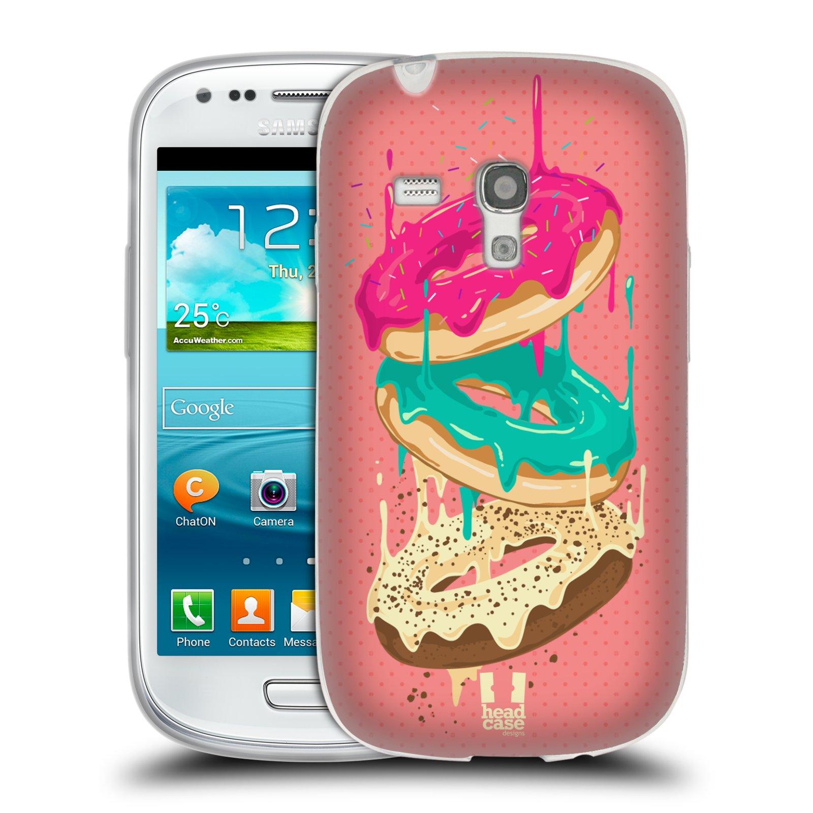 Silikonové pouzdro na mobil Samsung Galaxy S III Mini HEAD CASE DONUTKY PADAJÍCÍ (Silikonový kryt či obal na mobilní telefon Samsung Galaxy S III Mini GT-i8190)