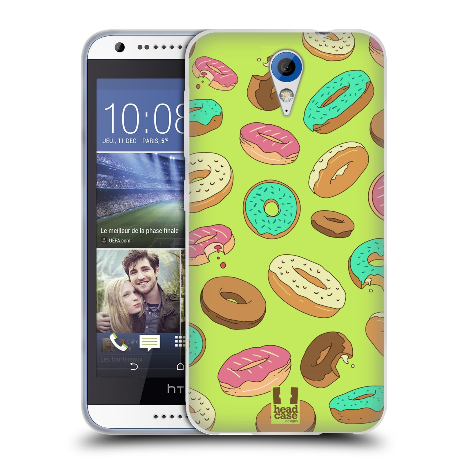 Silikonové pouzdro na mobil HTC Desire 620 HEAD CASE DONUTKY (Silikonový kryt či obal na mobilní telefon HTC Desire 620)