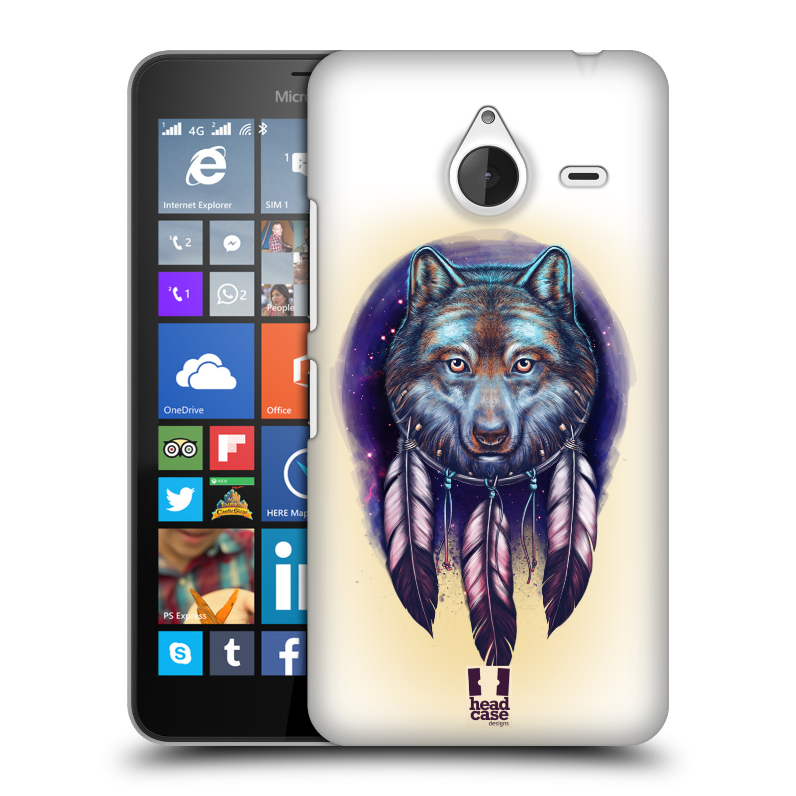 Plastové pouzdro na mobil Microsoft Lumia 640 XL - Head Case - Vlčí lapač (Plastový kryt či obal na mobilní telefon s motivem lapače snů pro Microsoft Lumia 640 XL)
