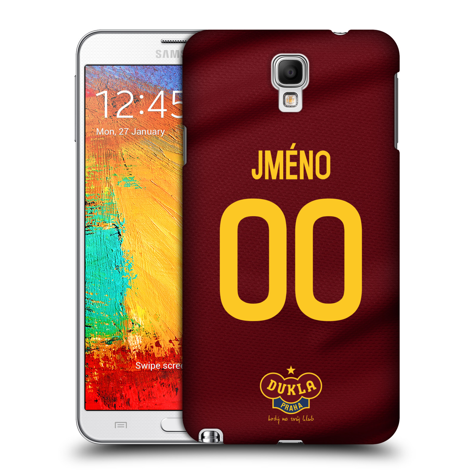 Plastové pouzdro na mobil Samsung Galaxy Note 3 Neo - FK Dukla Praha - dres s vlastním jménem a číslem