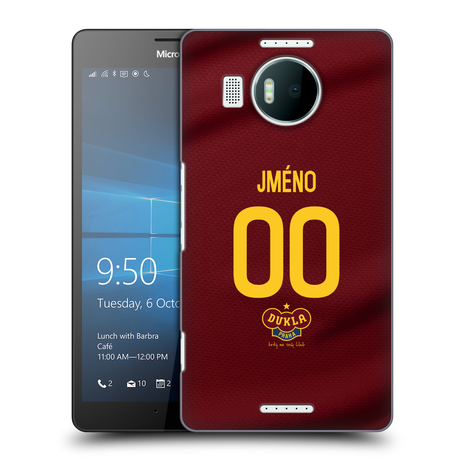 Plastové pouzdro na mobil Microsoft Lumia 950 XL - FK Dukla Praha - dres s vlastním jménem a číslem