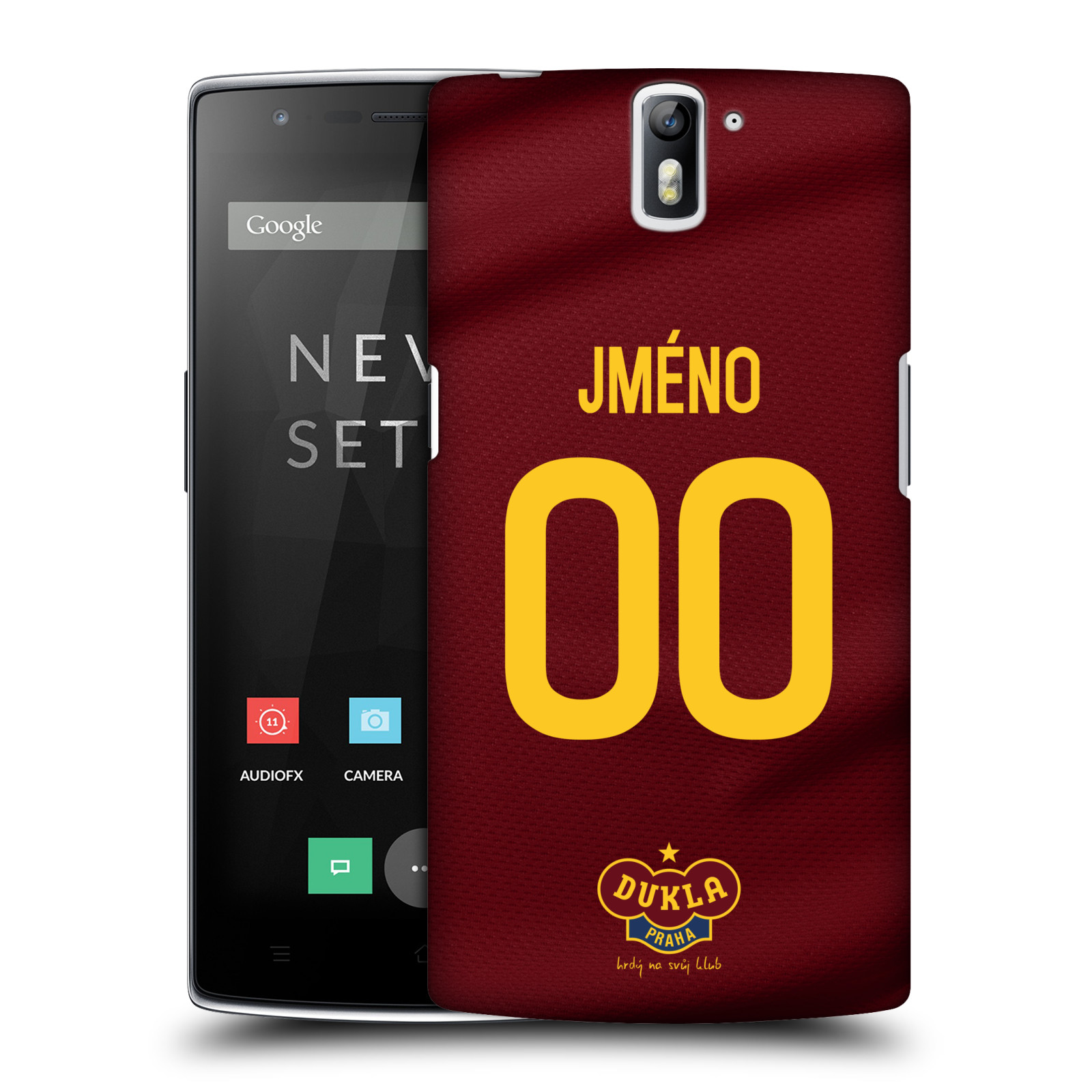 Plastové pouzdro na mobil OnePlus One - FK Dukla Praha - dres s vlastním jménem a číslem