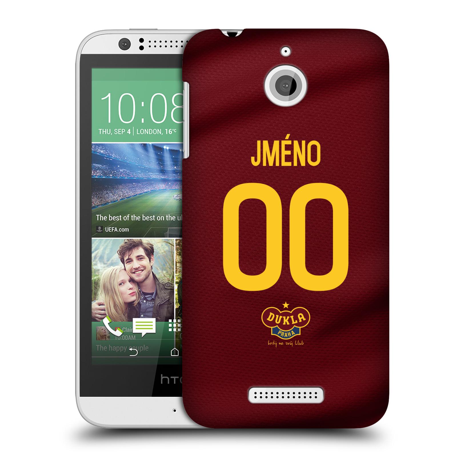 Plastové pouzdro na mobil HTC Desire 510 - FK Dukla Praha - dres s vlastním jménem a číslem
