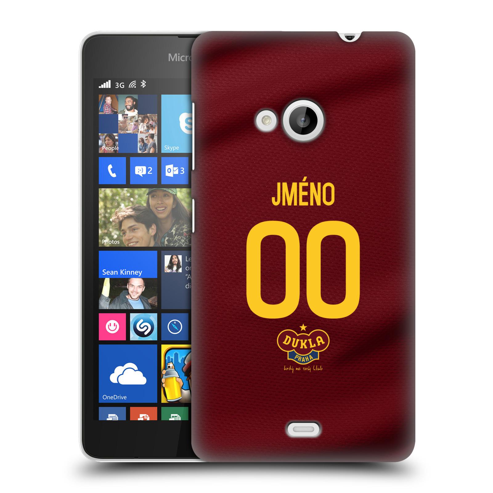 Plastové pouzdro na mobil Microsoft Lumia 535 - FK Dukla Praha - dres s vlastním jménem a číslem (Plastový kryt či obal na mobilní telefon s oficiálním motivem FK Dukla Praha - dres s vlastním jménem a číslem pro Microsoft Lumia 535)