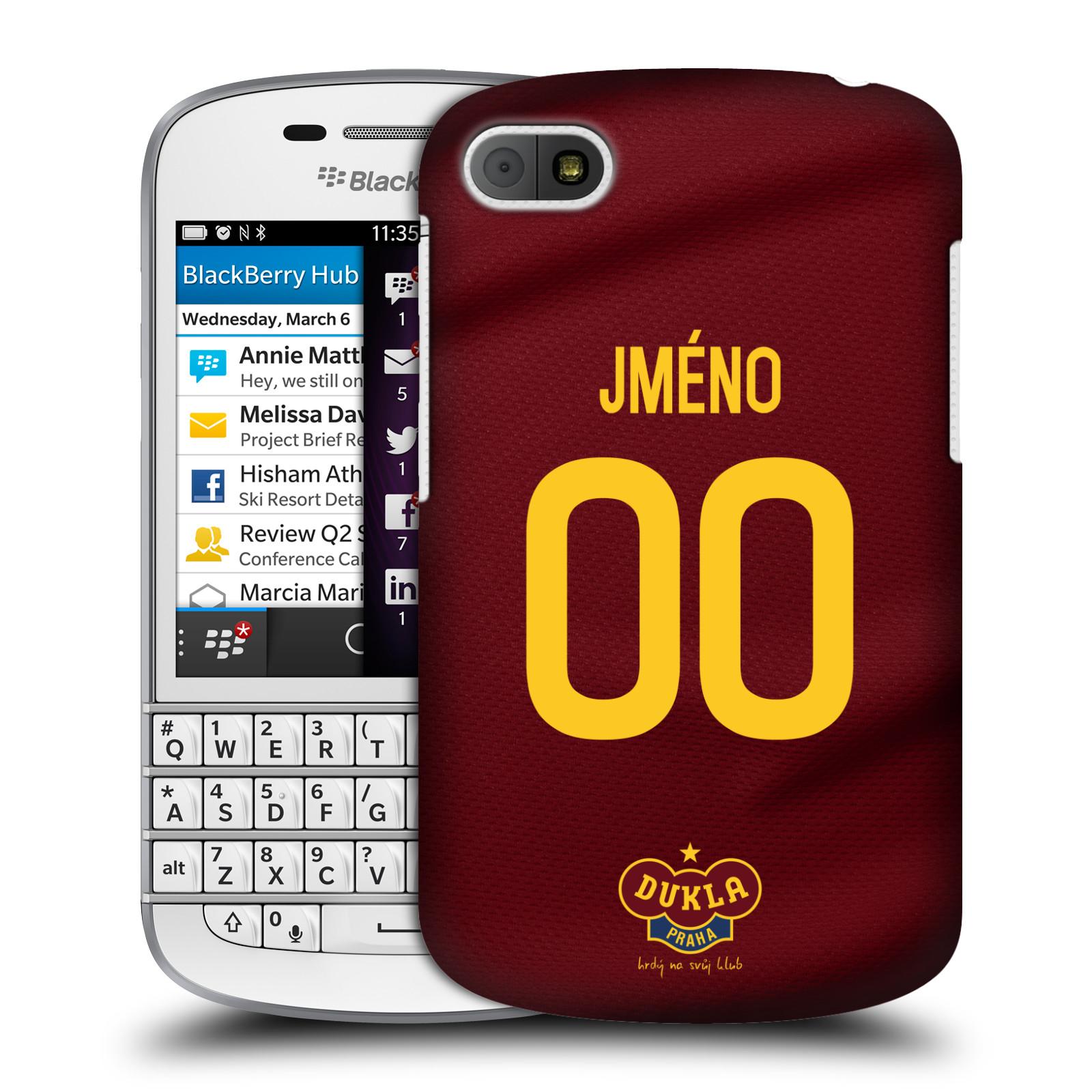 Plastové pouzdro na mobil Blackberry Q10 - FK Dukla Praha - dres s vlastním jménem a číslem (Plastový kryt či obal na mobilní telefon s oficiálním motivem FK Dukla Praha - dres s vlastním jménem a číslem pro Blackberry Q10)