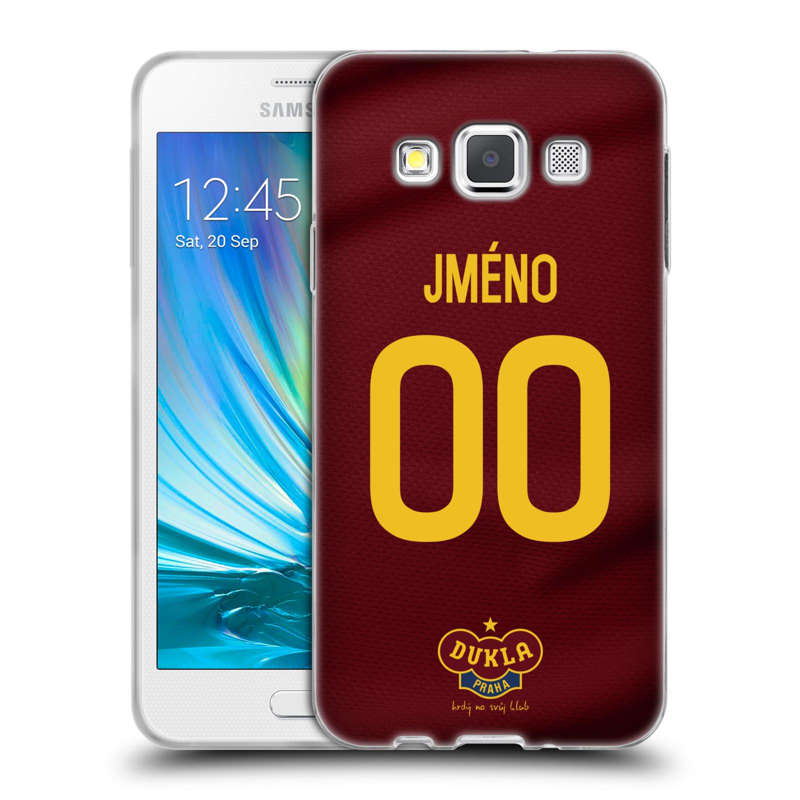 Silikonové pouzdro na mobil Samsung Galaxy A3 - FK Dukla Praha - dres s vlastním jménem a číslem