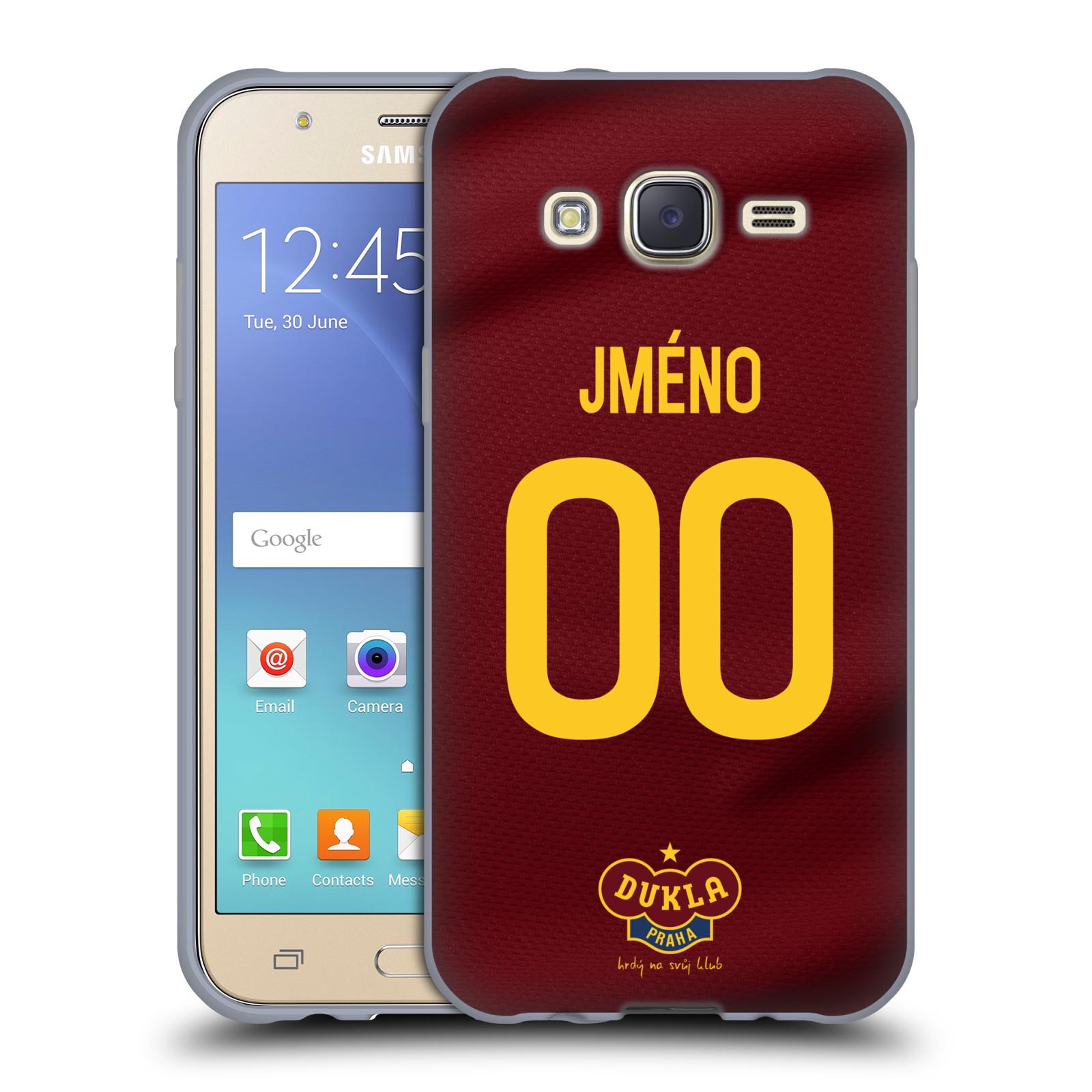 Silikonové pouzdro na mobil Samsung Galaxy J5 - FK Dukla Praha - dres s vlastním jménem a číslem