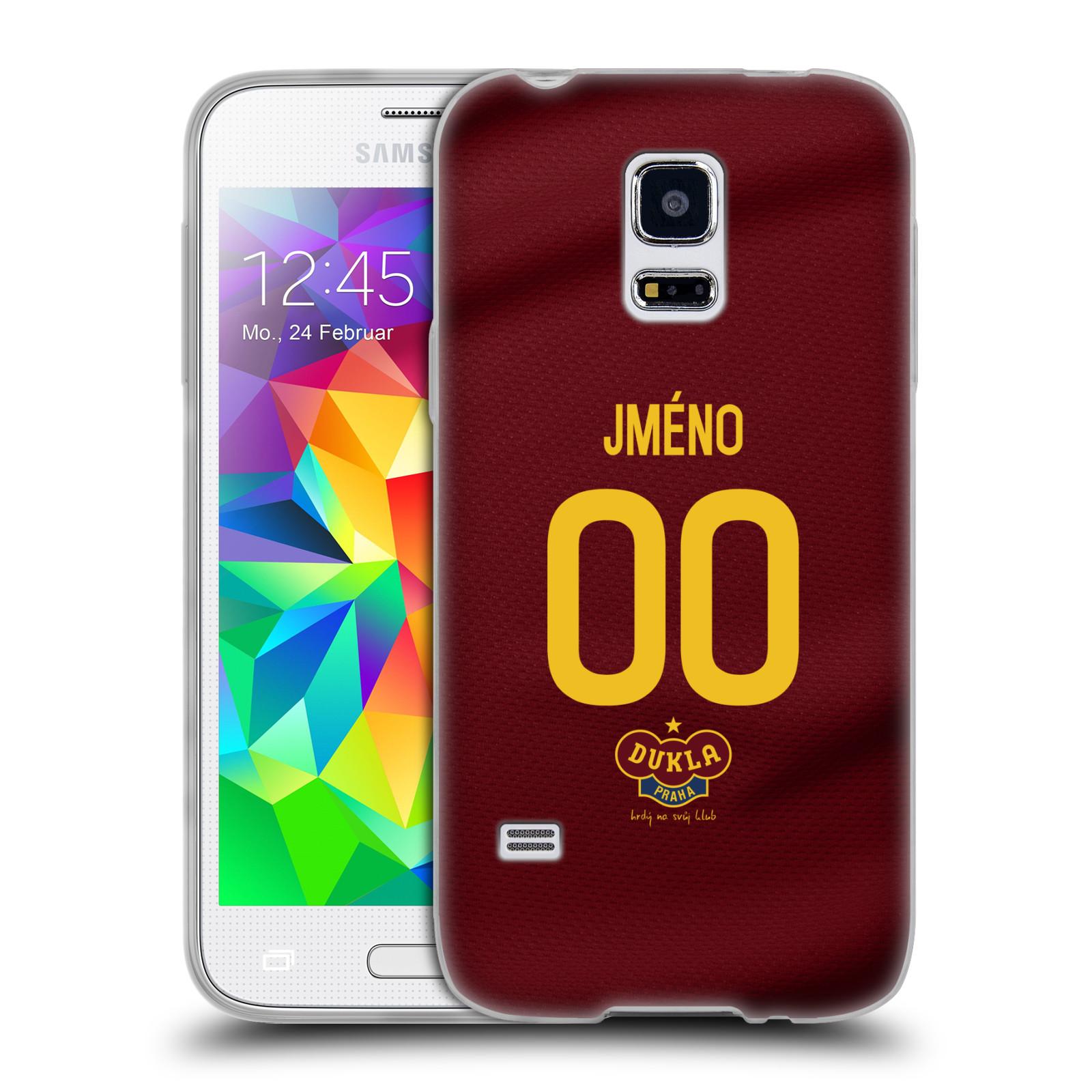 Silikonové pouzdro na mobil Samsung Galaxy S5 Mini - FK Dukla Praha - dres s vlastním jménem a číslem