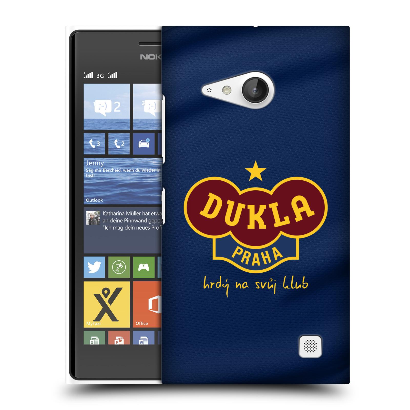 Plastové pouzdro na mobil Nokia Lumia 730 Dual SIM - FK Dukla Praha - Modrý dres (Plastový kryt či obal na mobilní telefon s oficiálním motivem FK Dukla Praha - Modrý dres pro Nokia Lumia 730 Dual SIM)