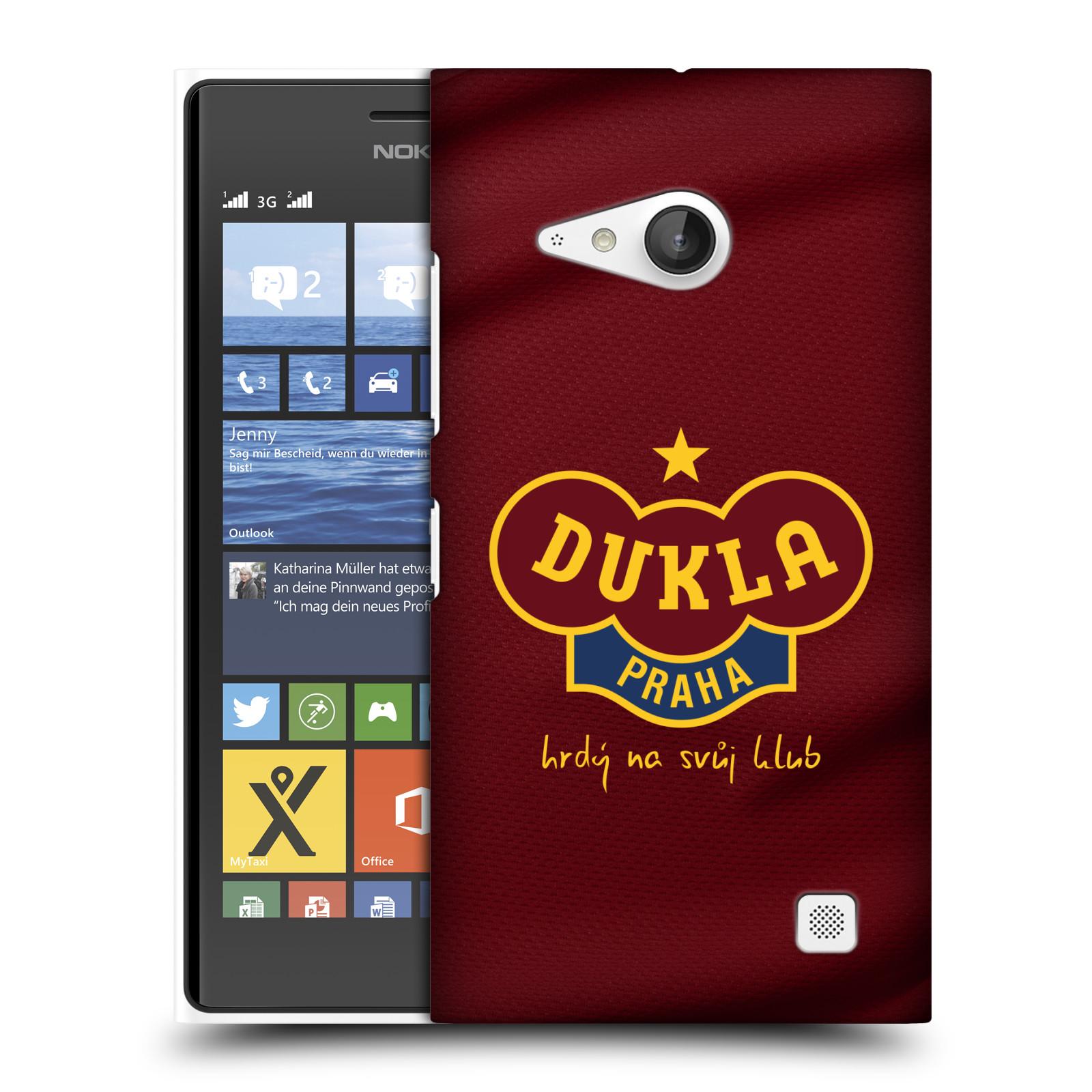 Plastové pouzdro na mobil Nokia Lumia 730 Dual SIM - FK Dukla Praha - Vínově červený dres (Plastový kryt či obal na mobilní telefon s oficiálním motivem FK Dukla Praha - Vínově červený dres pro Nokia Lumia 730 Dual SIM)