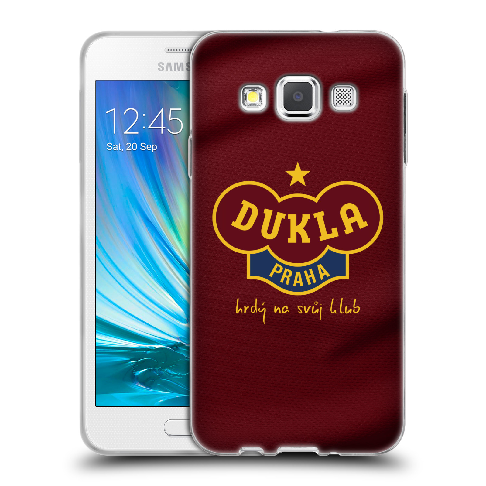 Silikonové pouzdro na mobil Samsung Galaxy A3 - FK Dukla Praha - Vínově červený dres