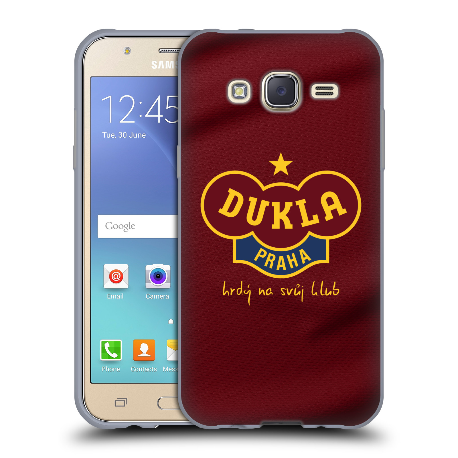 Silikonové pouzdro na mobil Samsung Galaxy J5 - FK Dukla Praha - Vínově červený dres