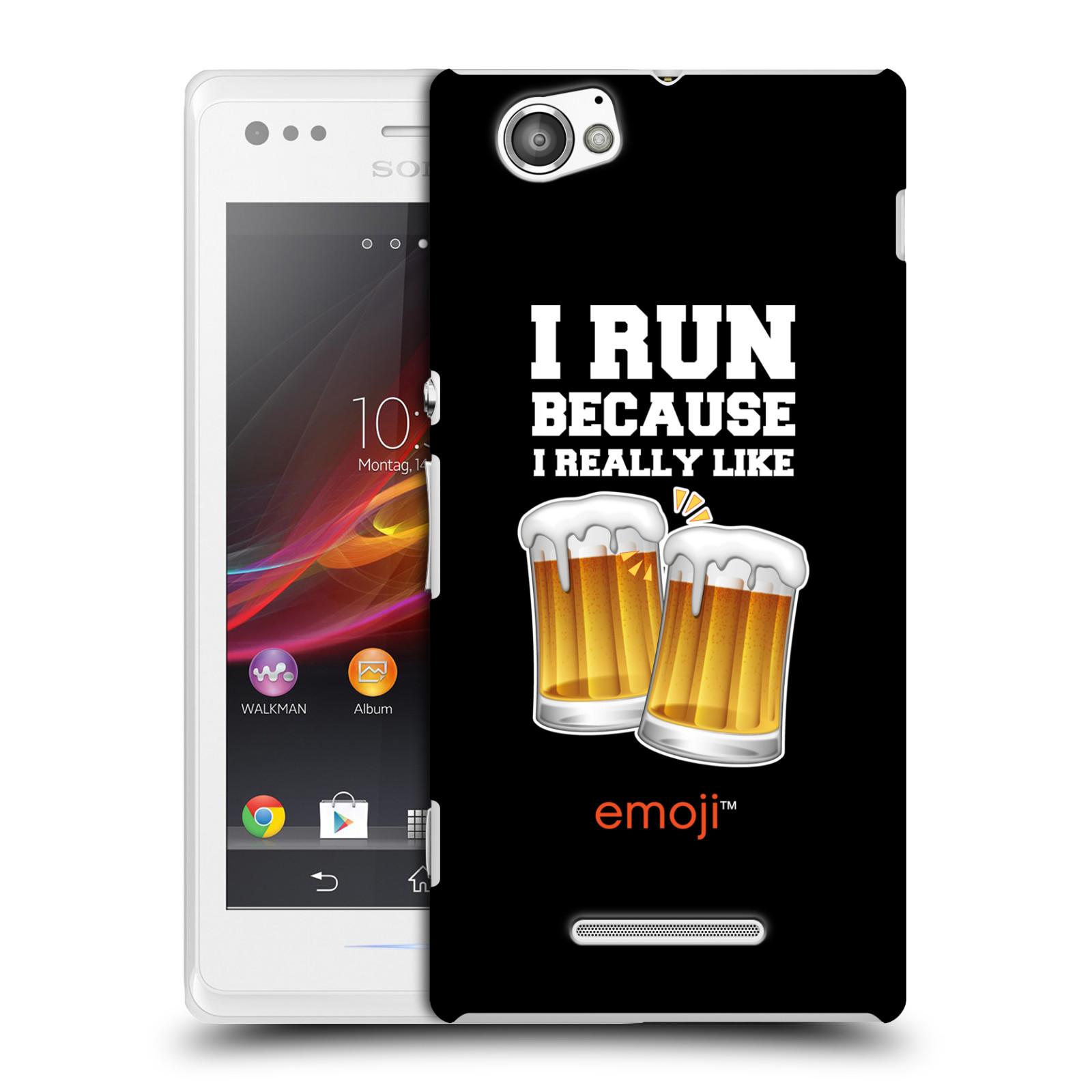Plastové pouzdro na mobil Sony Xperia M C1905 HEAD CASE EMOJI - Běhám na pivko (Kryt či obal s oficiálním motivem EMOJI na mobilní telefon Sony Xperia M )