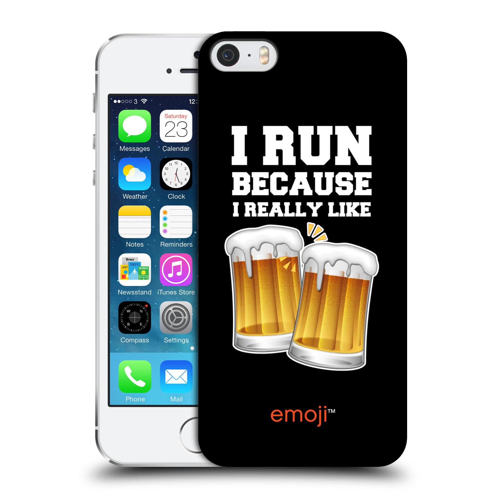 Plastové pouzdro na mobil Apple iPhone 5 a 5S HEAD CASE EMOJI - Běhám na pivko