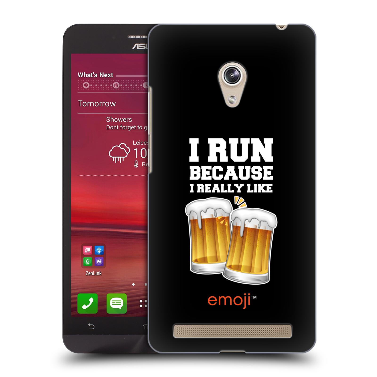 Plastové pouzdro na mobil Asus Zenfone 6 HEAD CASE EMOJI - Běhám na pivko (Kryt či obal s oficiálním motivem EMOJI na mobilní telefon Asus Zenfone 6 A600CG / A601CG)