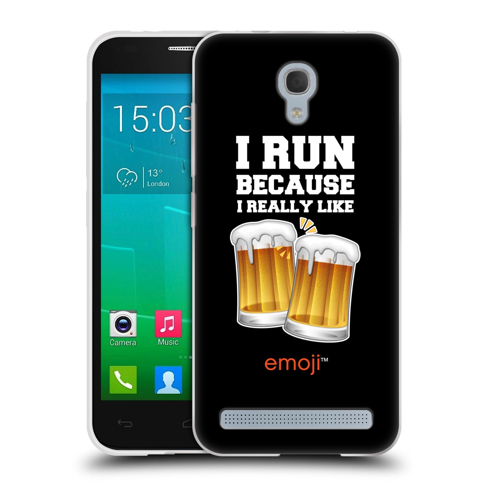 Silikonové pouzdro na mobil Alcatel One Touch Idol 2 Mini S 6036Y HEAD CASE EMOJI - Běhám na pivko (Silikonový kryt či obal s oficiálním motivem EMOJI na mobilní telefon Alcatel Idol 2 Mini S OT-6036Y)