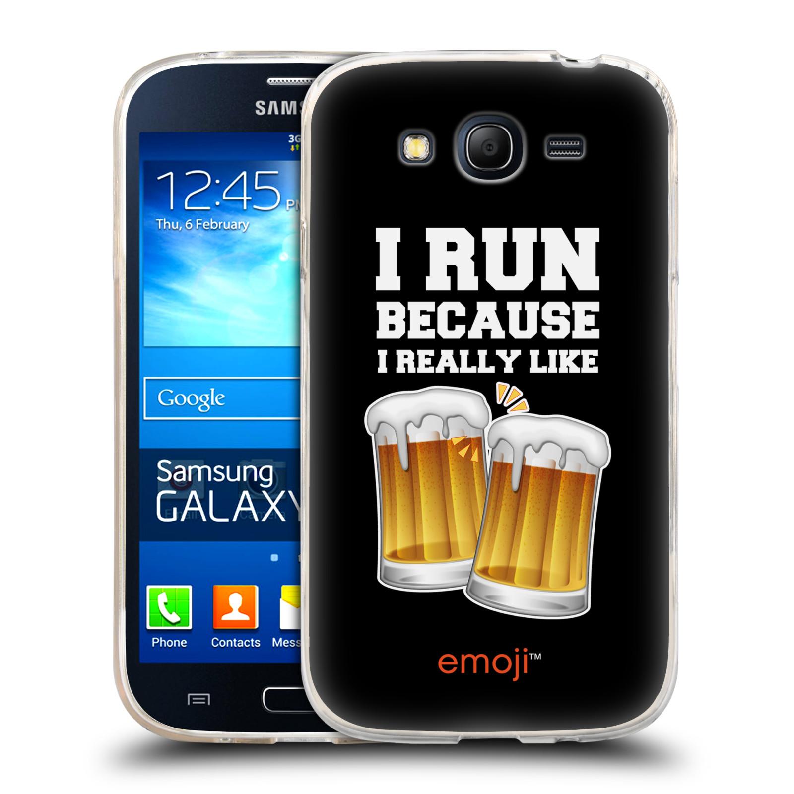 Silikonové pouzdro na mobil Samsung Galaxy Grand Neo Plus HEAD CASE EMOJI - Běhám na pivko (Silikonový kryt či obal s oficiálním motivem EMOJI na mobilní telefon Samsung Galaxy Grand Neo Plus Duos GT-I9060i)