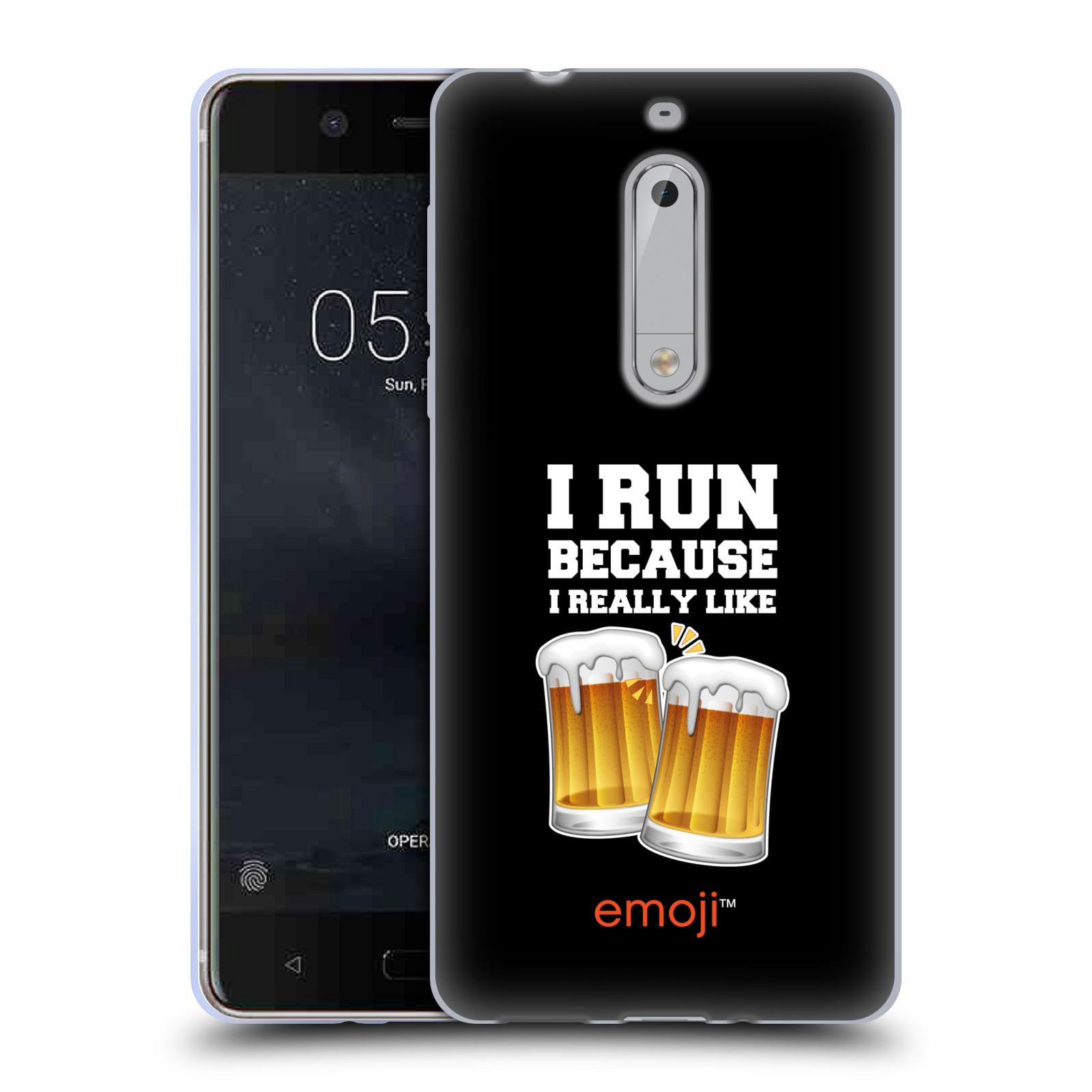 Silikonové pouzdro na mobil Nokia 5 Head Case - EMOJI - Běhám na pivko