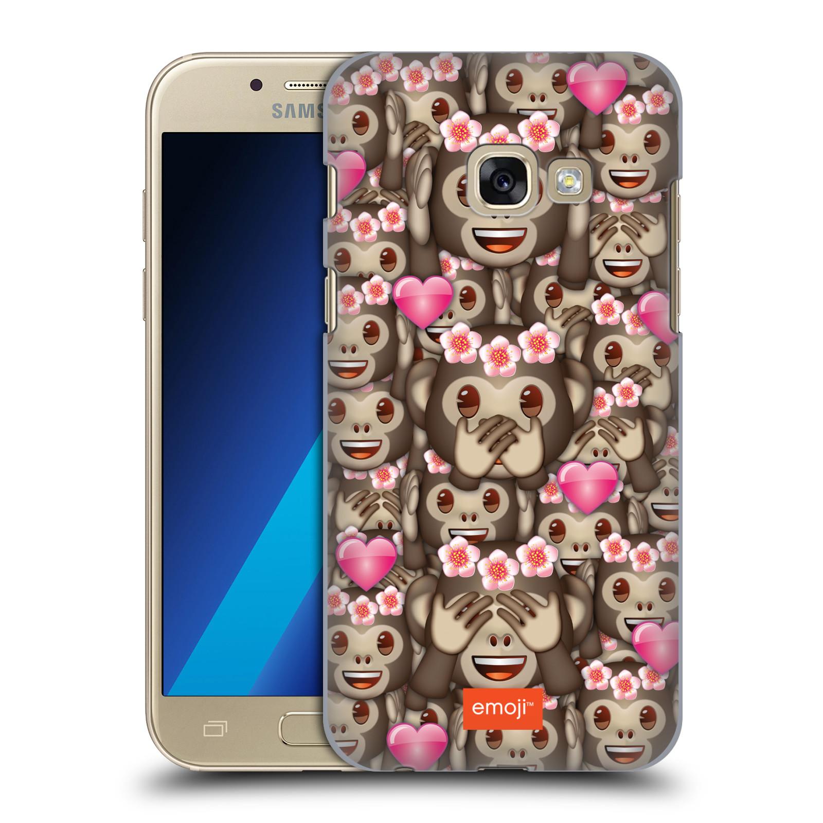 Plastové pouzdro na mobil Samsung Galaxy A3 (2017) HEAD CASE EMOJI - Opičky, srdíčka a kytičky