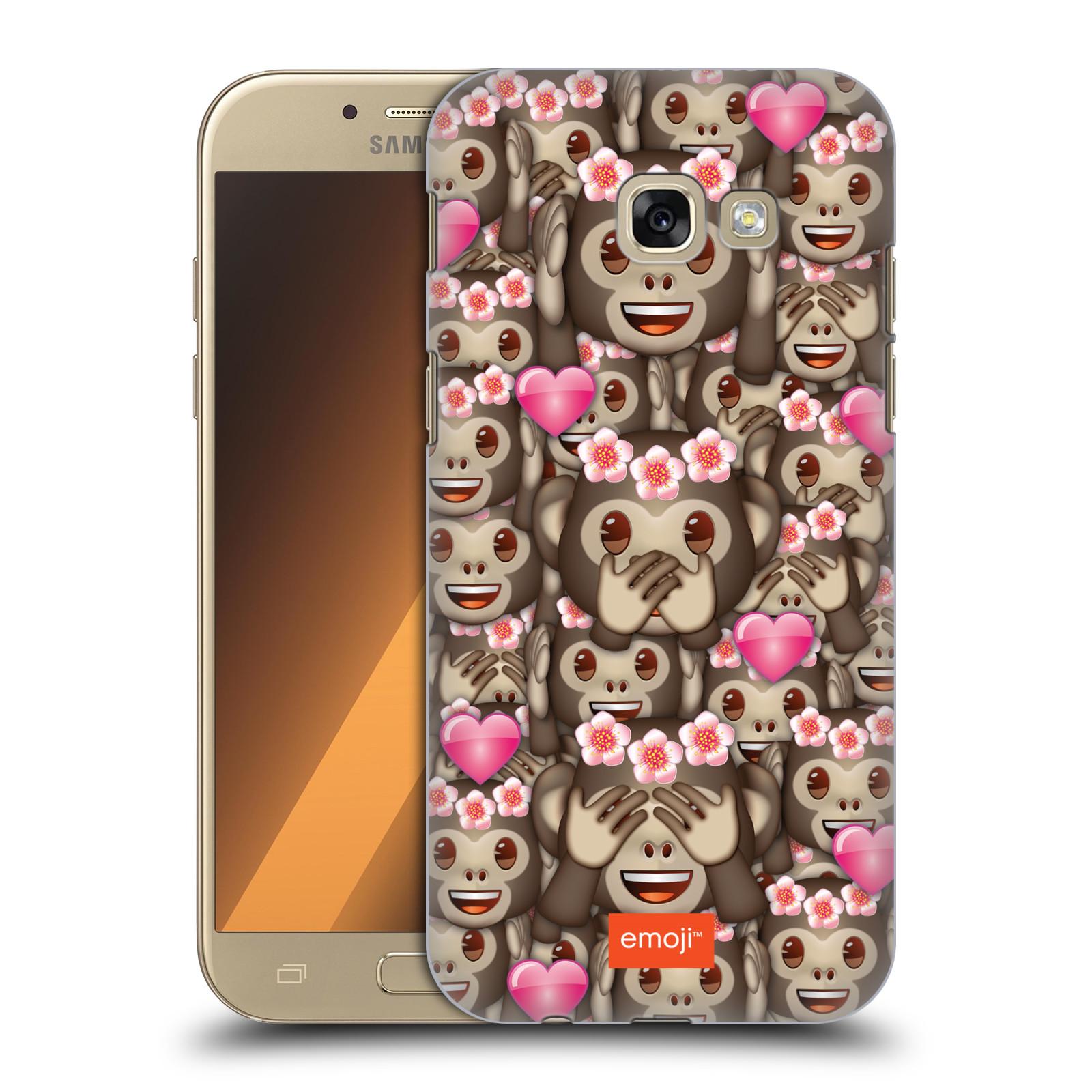 Plastové pouzdro na mobil Samsung Galaxy A5 (2017) HEAD CASE EMOJI - Opičky, srdíčka a kytičky
