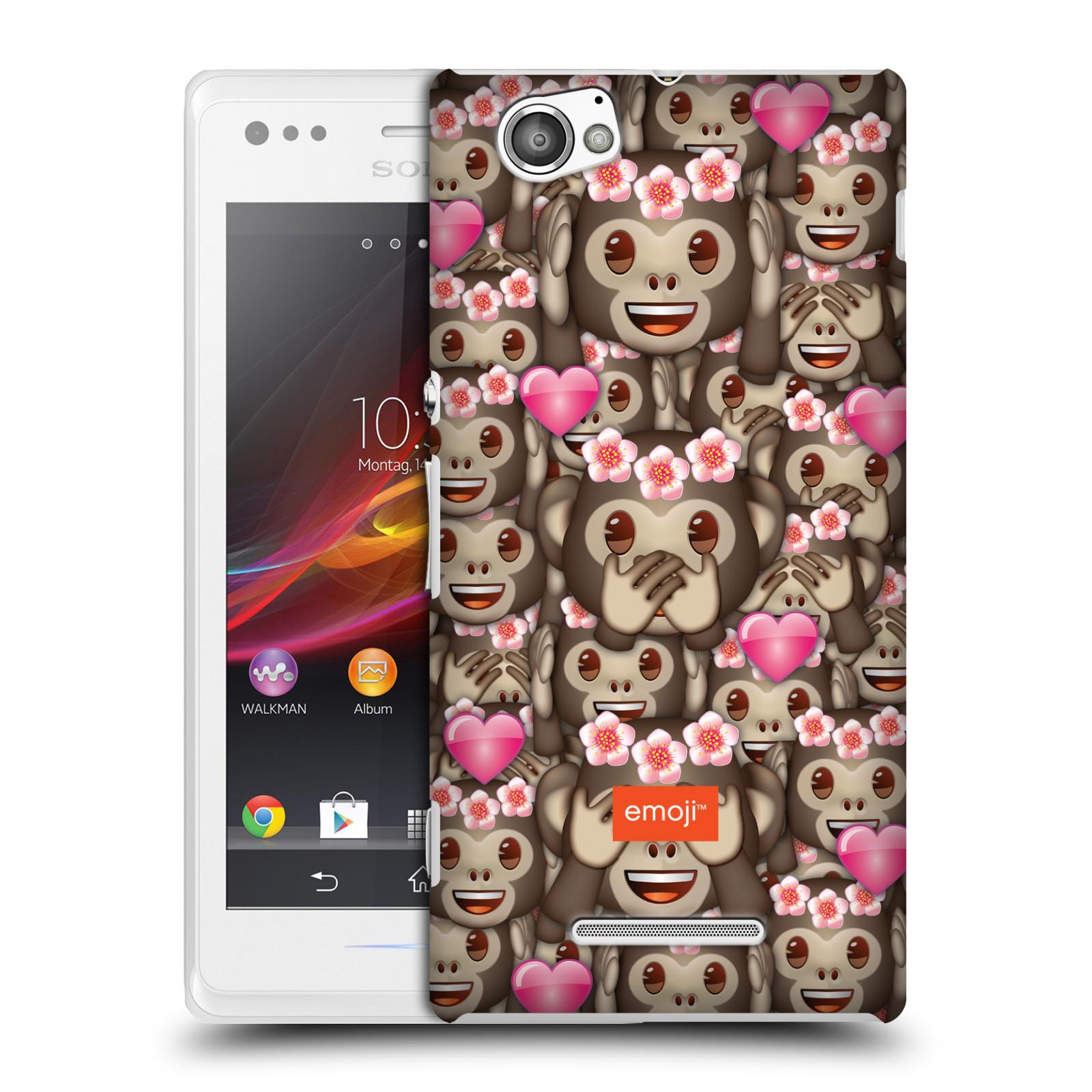 Plastové pouzdro na mobil Sony Xperia M C1905 HEAD CASE EMOJI - Opičky, srdíčka a kytičky (Kryt či obal s oficiálním motivem EMOJI na mobilní telefon Sony Xperia M )