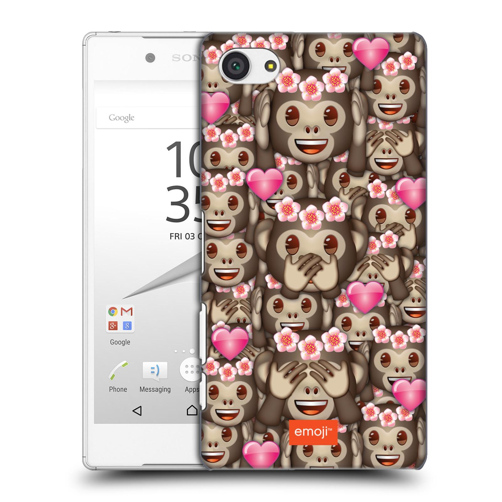 Plastové pouzdro na mobil Sony Xperia Z5 Compact HEAD CASE EMOJI - Opičky, srdíčka a kytičky
