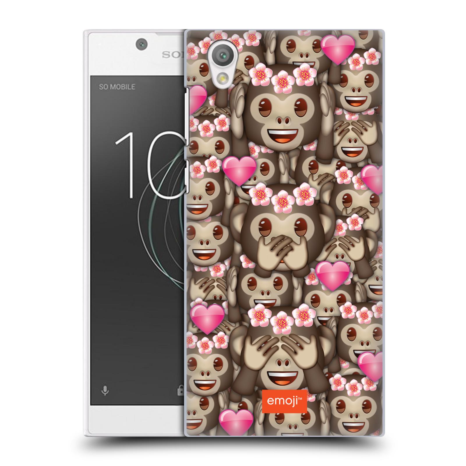 Plastové pouzdro na mobil Sony Xperia L1 - Head Case - EMOJI - Opičky, srdíčka a kytičky