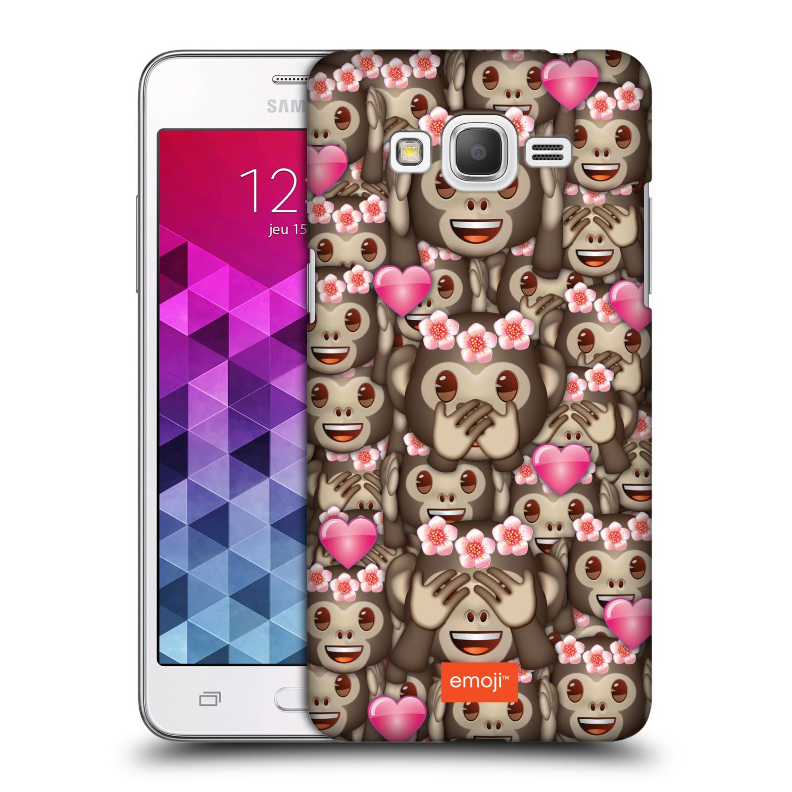 Plastové pouzdro na mobil Samsung Galaxy Grand Prime HEAD CASE EMOJI - Opičky, srdíčka a kytičky
