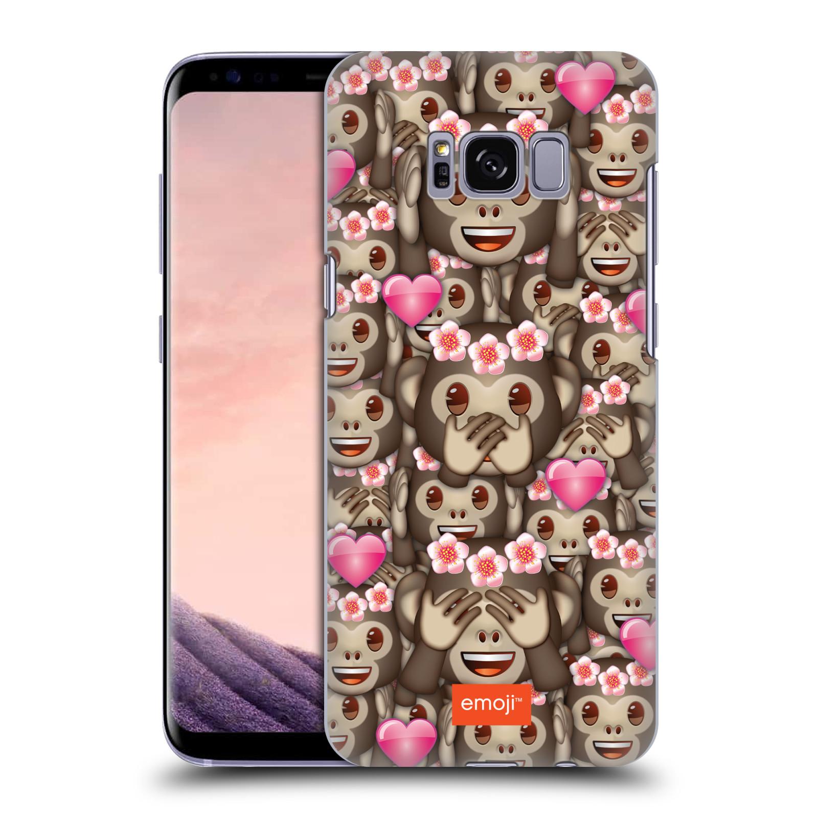 Plastové pouzdro na mobil Samsung Galaxy S8 Head Case EMOJI - Opičky, srdíčka a kytičky