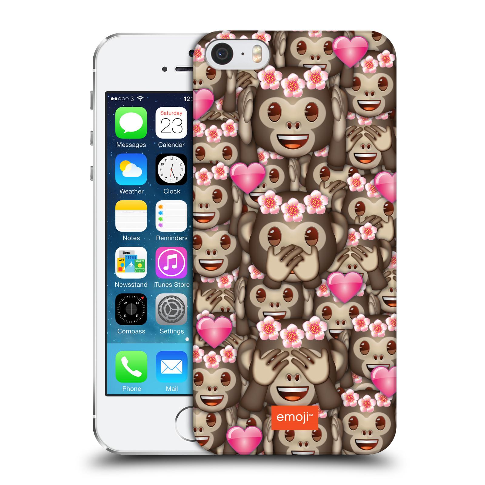 Plastové pouzdro na mobil Apple iPhone SE, 5 a 5S HEAD CASE EMOJI - Opičky, srdíčka a kytičky