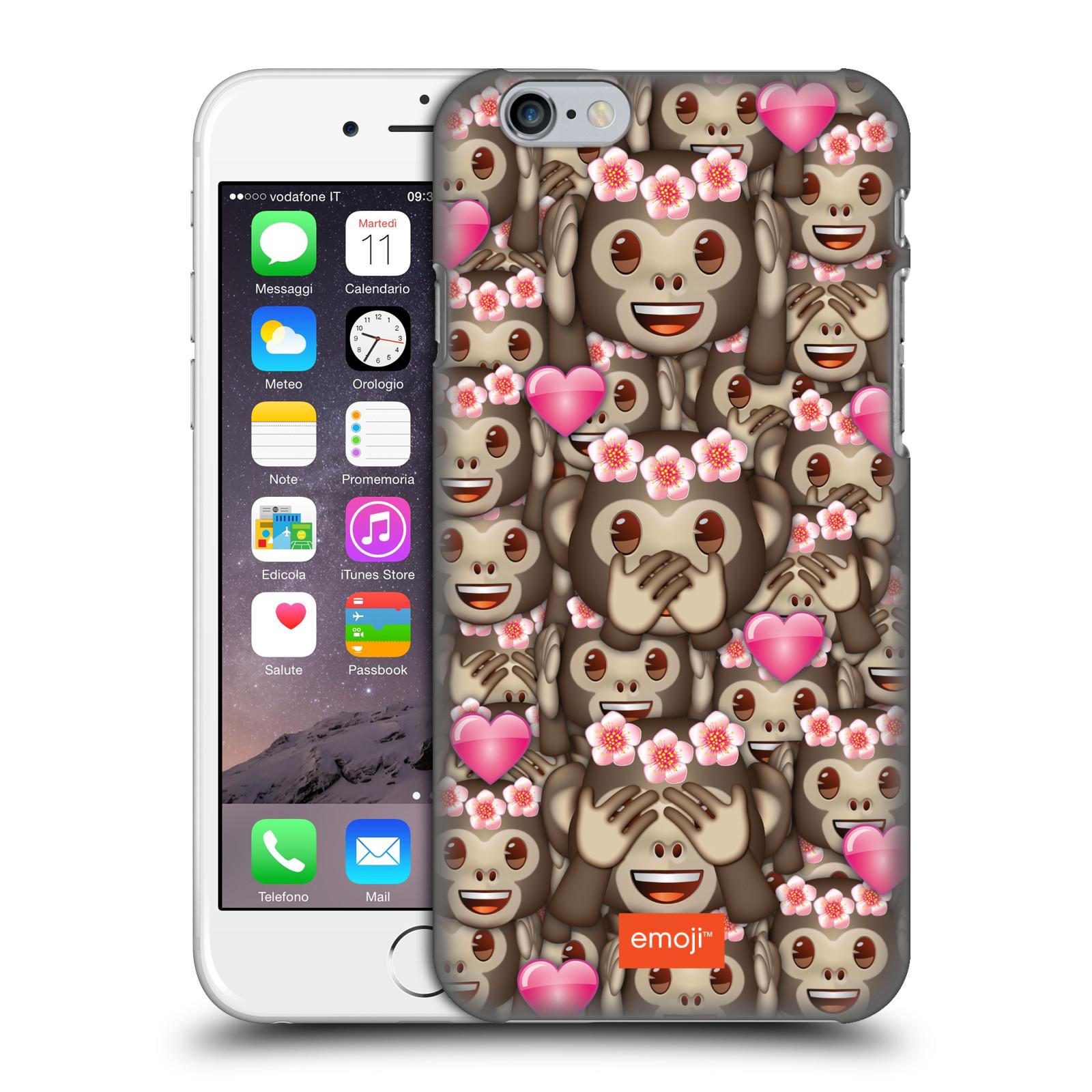 Plastové pouzdro na mobil Apple iPhone 6 HEAD CASE EMOJI - Opičky, srdíčka a kytičky