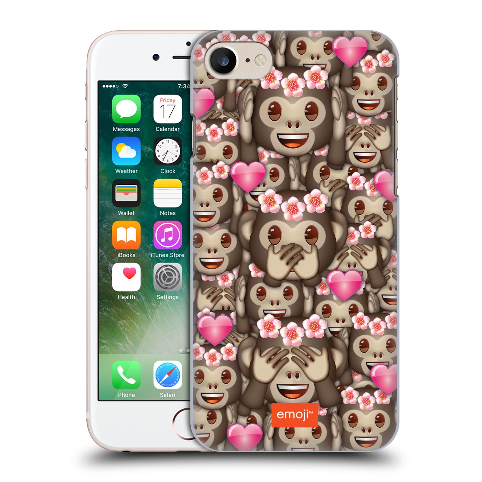 Plastové pouzdro na mobil Apple iPhone 7 HEAD CASE EMOJI - Opičky, srdíčka a kytičky