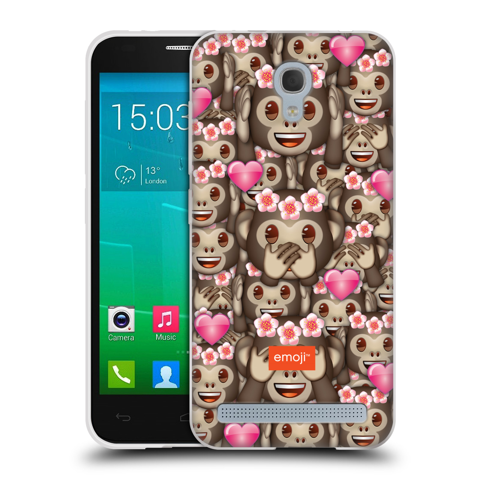 Silikonové pouzdro na mobil Alcatel One Touch Idol 2 Mini S 6036Y HEAD CASE EMOJI - Opičky, srdíčka a kytičky (Silikonový kryt či obal s oficiálním motivem EMOJI na mobilní telefon Alcatel Idol 2 Mini S OT-6036Y)